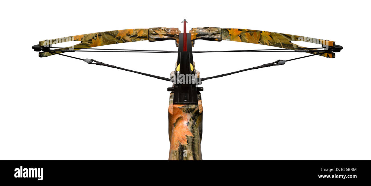 a cut out shot of a camouflaged crossbow - Stock Image