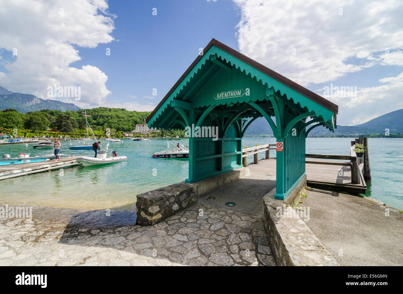 Wooden boat stop on Lake Annecy, Menthon-Saint-Bernard, Annecy, Haute-Savoie, Rhone-Alpes, France - Stock Image