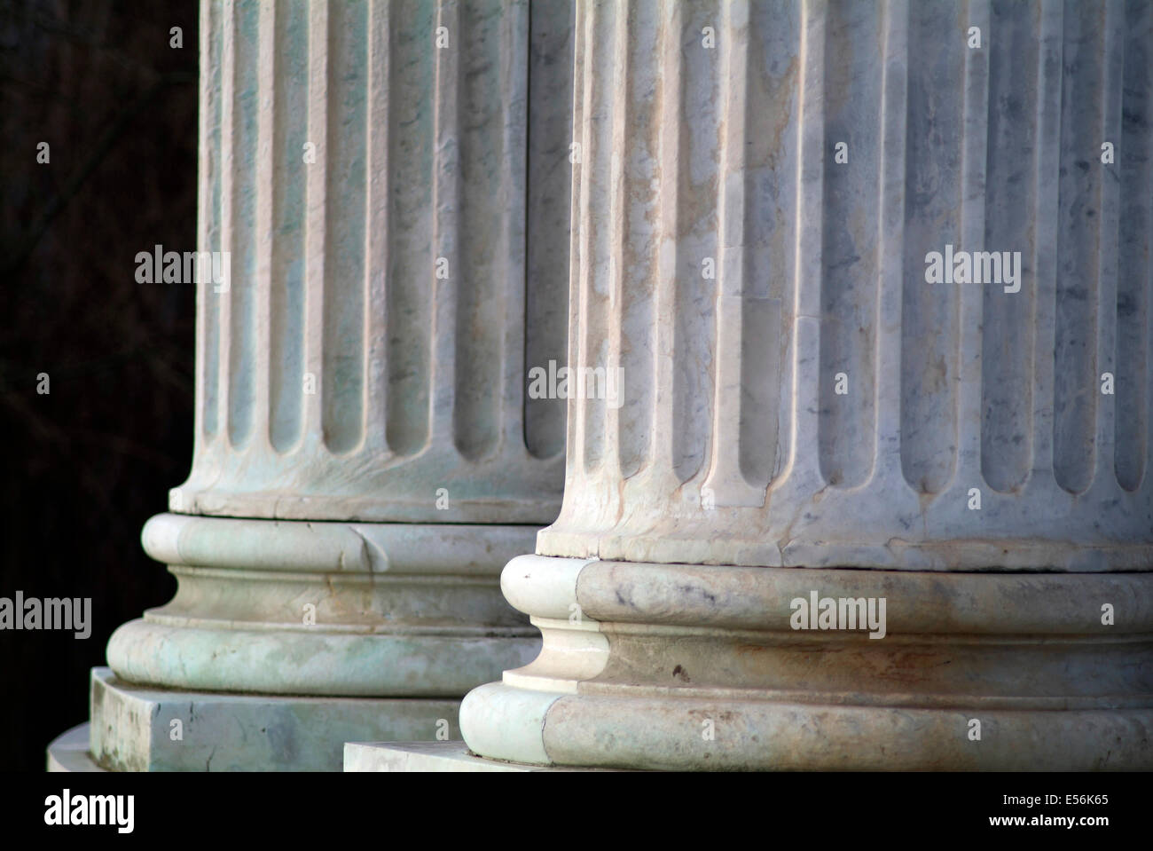 Classical marble columns - close up Stock Photo