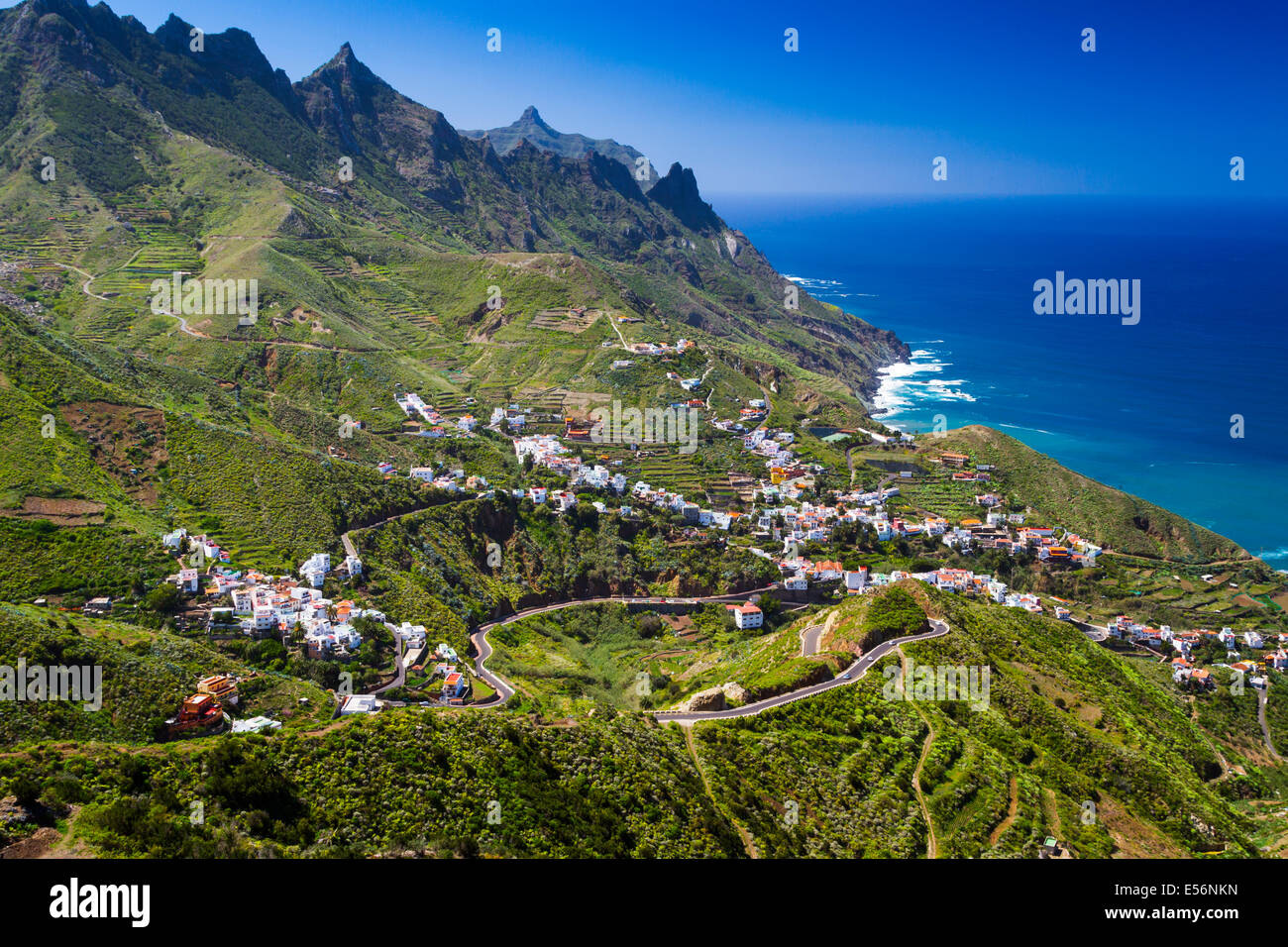Taganaga village and cliffs. Santa Cruz de Tenerife, Tenerife, Canary Islands, Atlantic Ocean, Spain. Europe. - Stock Image