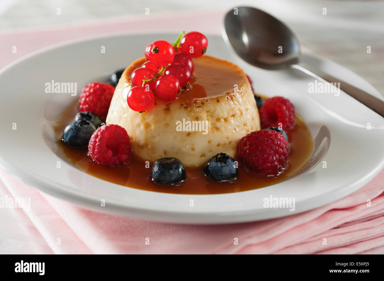 Crème caramel. Caramel custard dessert - Stock Image