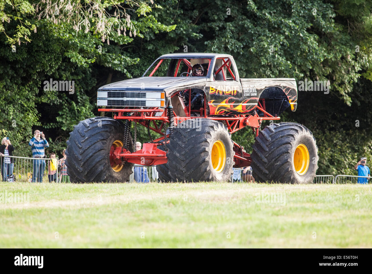 The Bandit monster truck at Scott May's Daredevil Stunt Show, The Matterley Bowl, Winchester, Hampshire, England. - Stock Image
