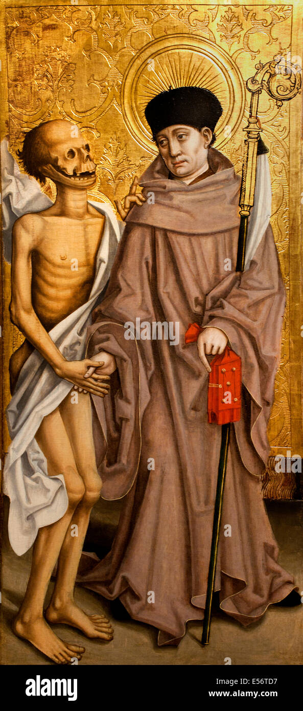 Saint Fridolin Abbot of Sackingen accompanied by the dead man he resurrected 15th Century Master the Oeillet Swiss - Stock Image