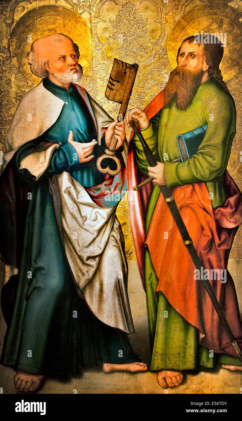 Saint Peter and St Paul 15th Century Bavaria German Germany - Stock Image