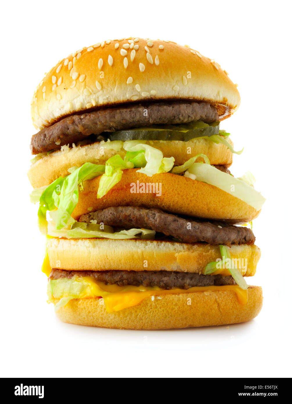 Big burger isolated over a white background - Stock Image