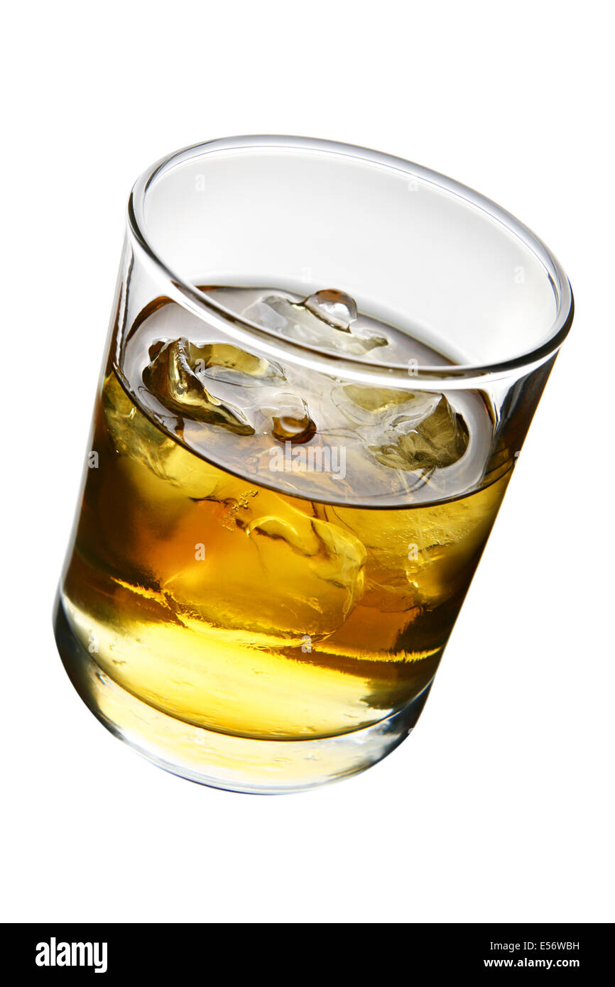 Glass of whisky with ice isolated over white background - Stock Image