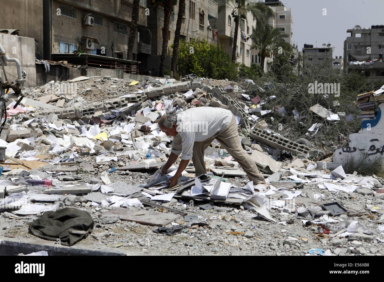 Gaza City, Gaza Strip. 22nd July, 2014. An entire Palestinian family of eleven, that also holds German Citizenship, Stock Photo