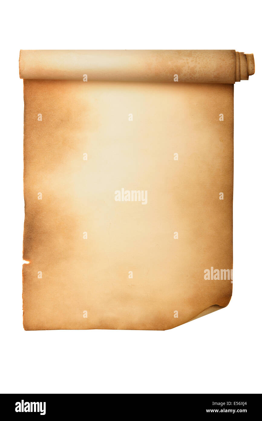 Ancient manuscript isolated over a white background - Stock Image