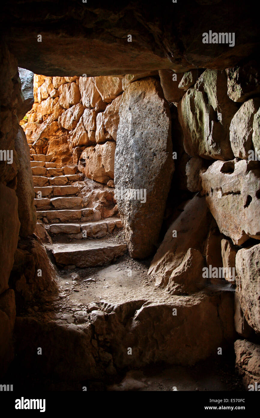Coming out of the tunnel of the underground cistern in Ancient Mycenae ('Mykines'), Argolis (Argolida), - Stock Image