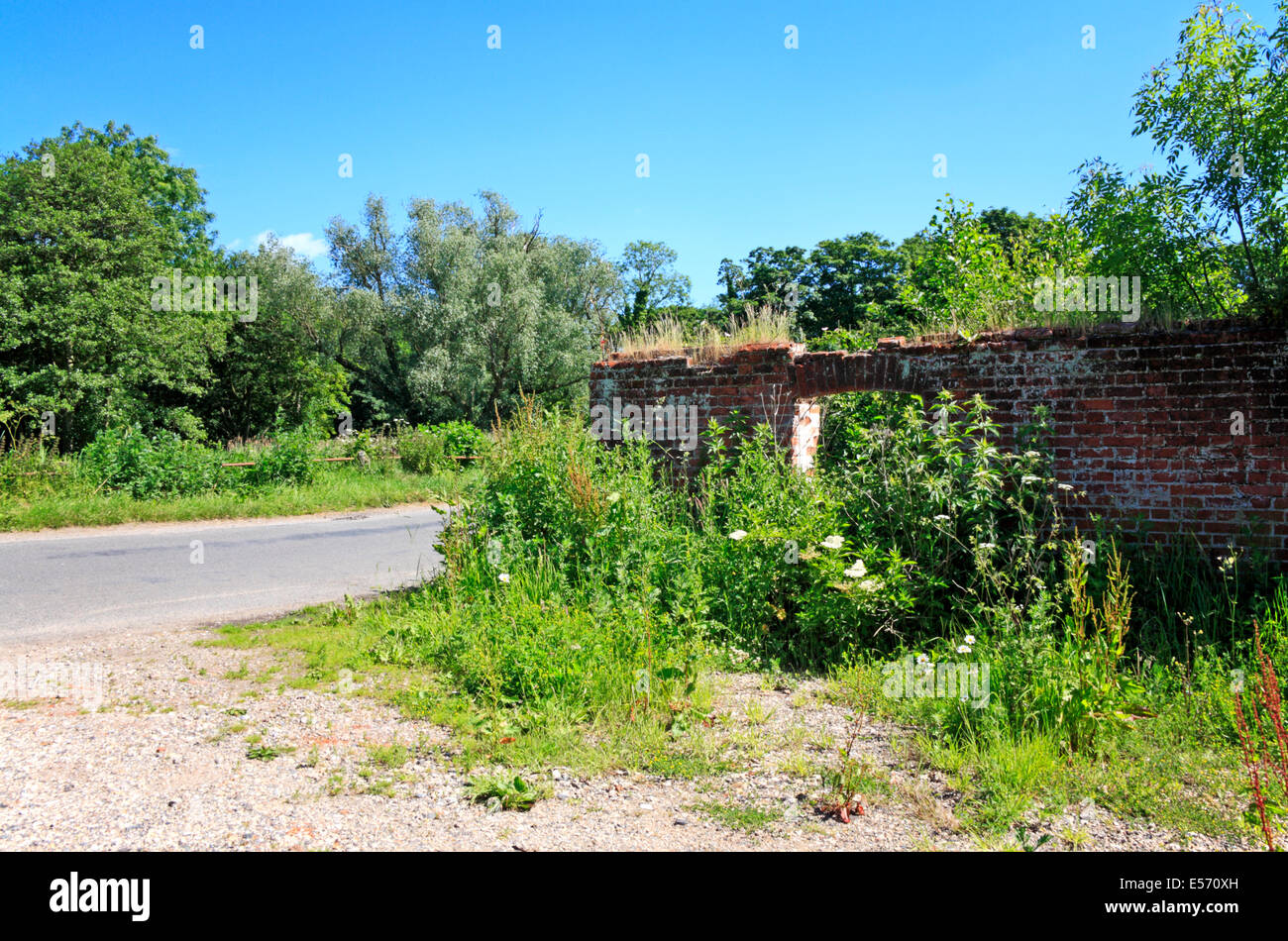 Remains of Briggate Water Mill by the old North Walsham and Dilham Canal near North Walsham, Norfolk, England, United - Stock Image