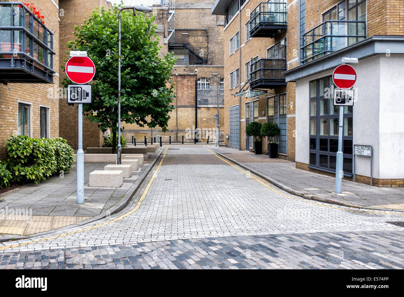 No entry and Camera CCTV signs in Greenwich street, London, UK - Stock Image