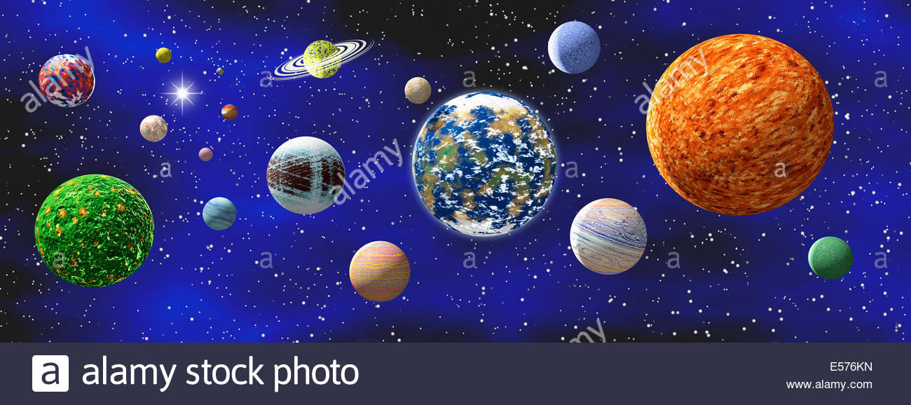 Illustration Of A Group Generic Not Real Planets And Distant Star In