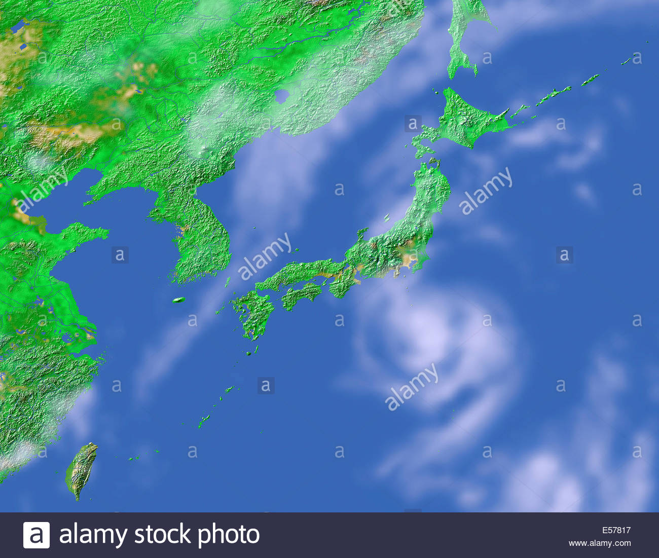 Map satellite geography japan stock photos map satellite geography simulated orbiting satellite view of japan korea and part of china showing terrain gumiabroncs Images
