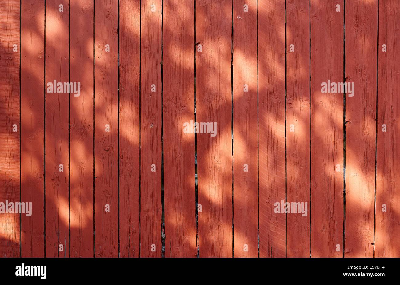 Red wall, unplaned wooden boards, ventilation gaps - Stock Image