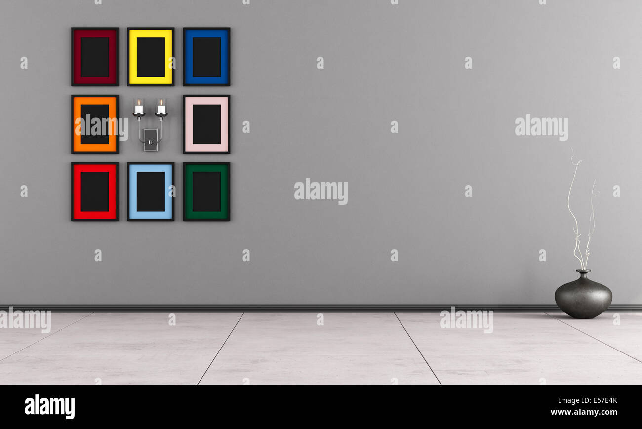 Minimalist Room With Colorful Frame And Candle On Gray Wall Stock Photo Alamy