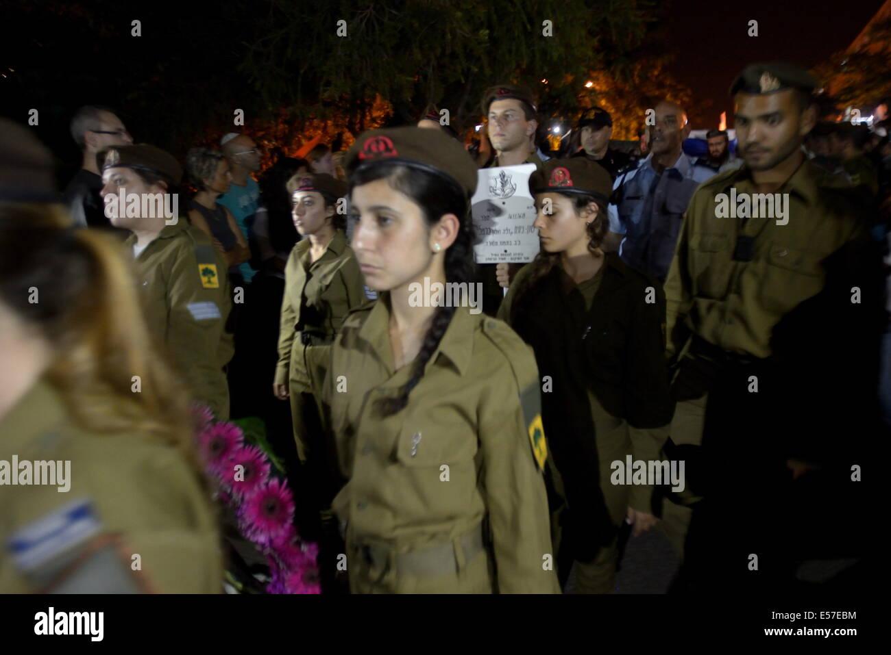 Haifa, Israel. 21st July, 2014. HAIFA, ISRAEL - JULY 21, 2014: Some dozens of thousands of Israelis attended the - Stock Image
