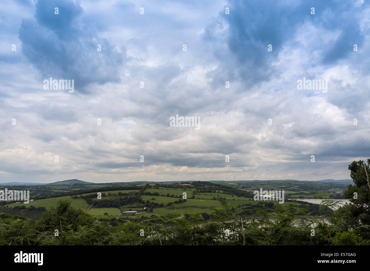 Overcast sky in summer seen from the Minaun Hill in the Faithlegg area of County Waterford, Ireland. - Stock Image