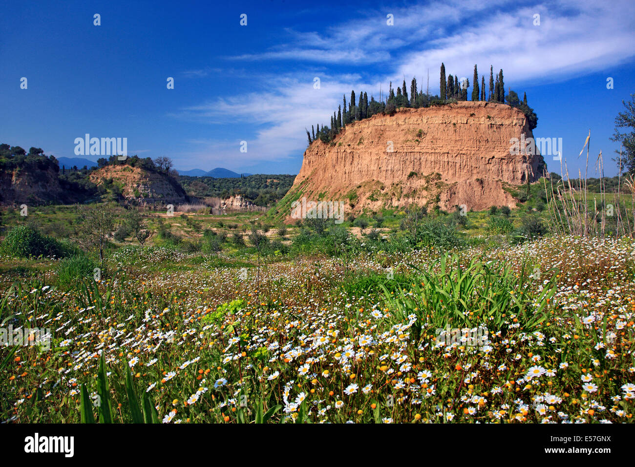 Landscape close to Amfithea village, Messene municipality, Messenia, Peloponnese, Greece. - Stock Image