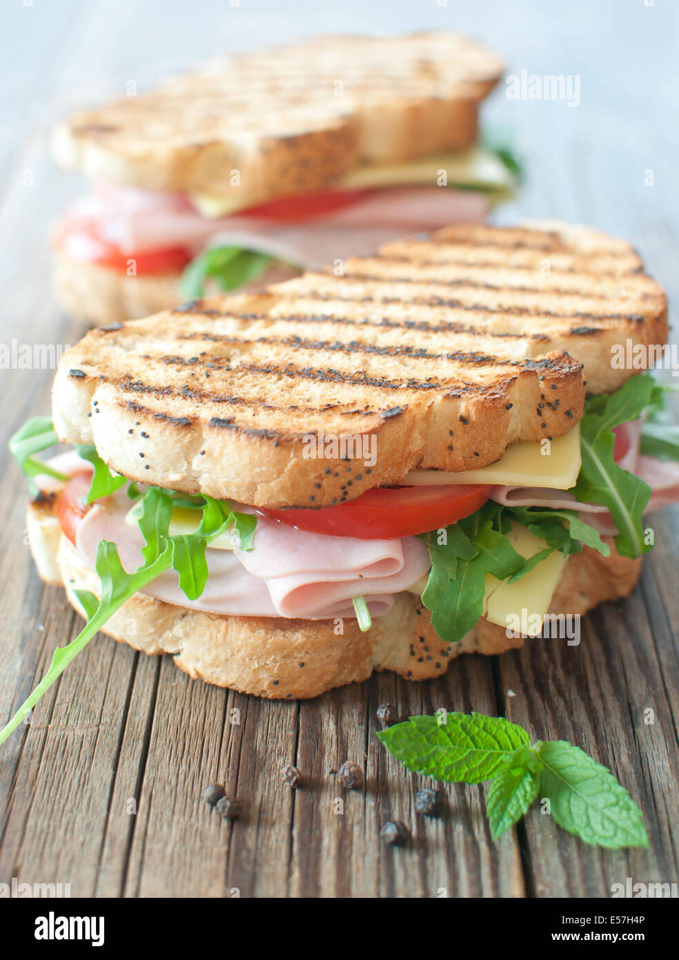 Grilled deli sandwiches - Stock Image