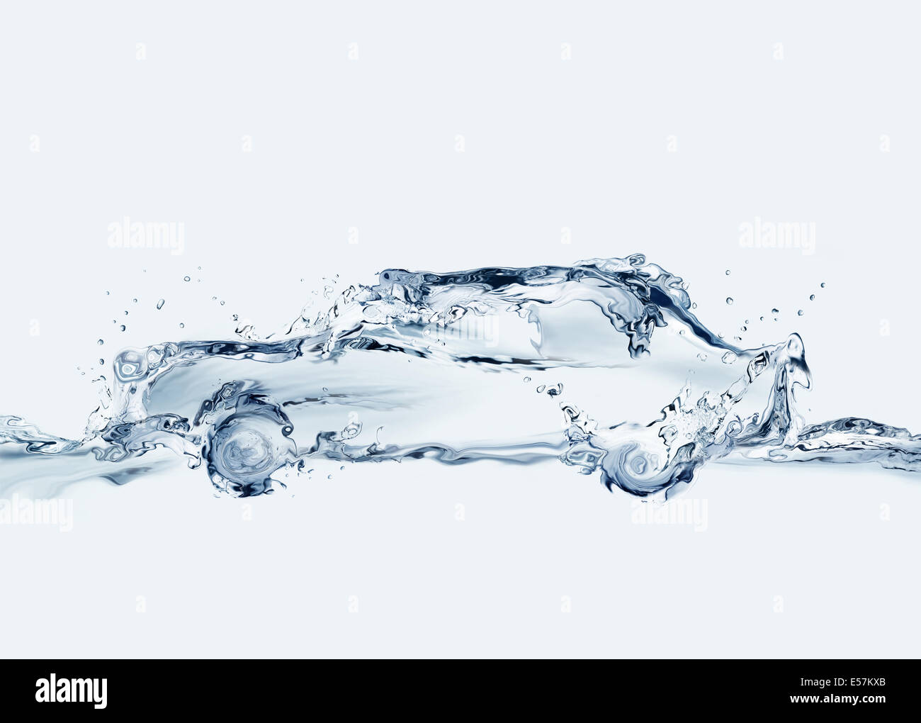 A car made of water. Can symbolize comfortable traveling, anti-pollution technologies, relaxation during traffic, - Stock Image