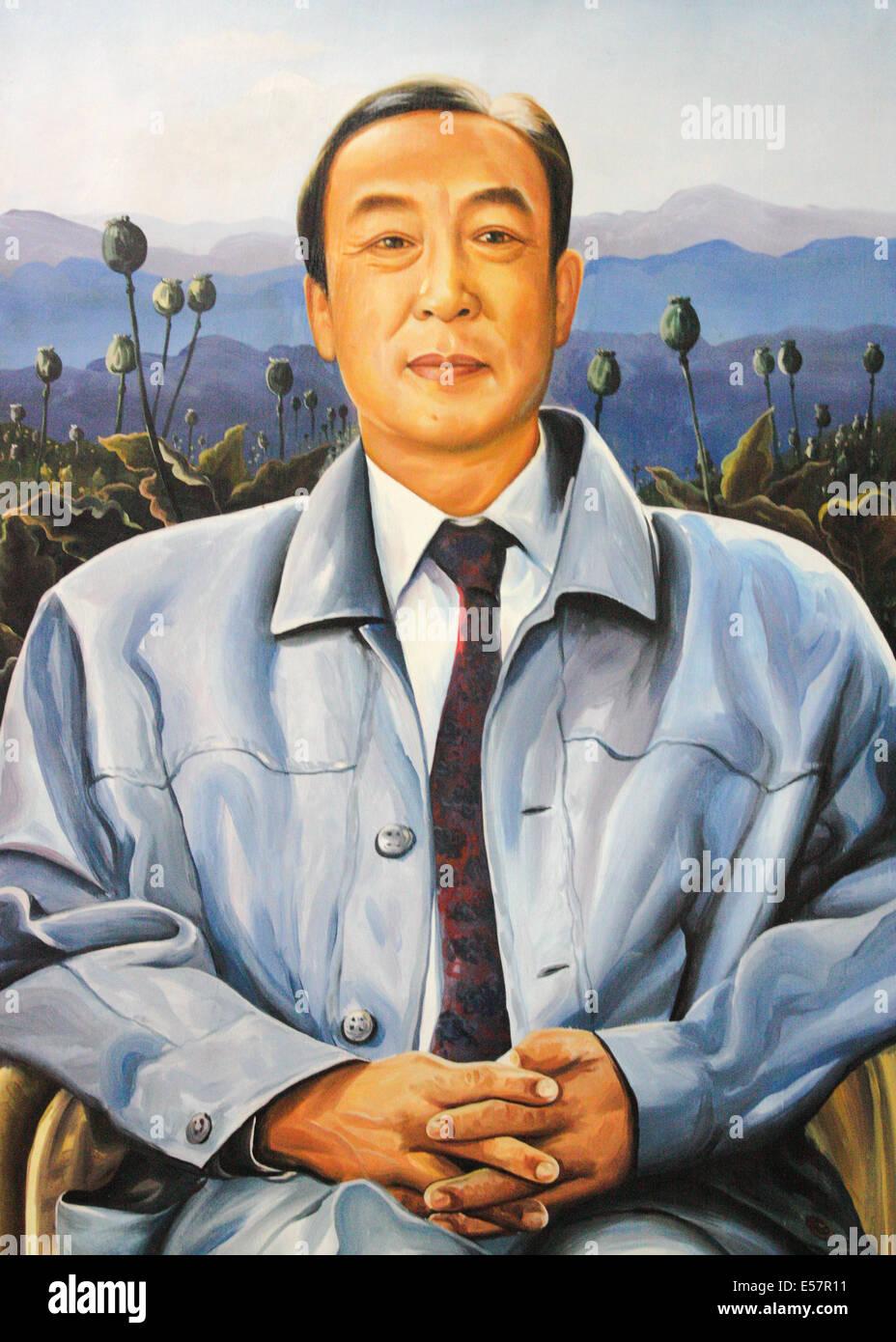 Khun Sa (1934-2007) Burmese warlord aka the 'Opium King' or 'King of the Golden Triangle'. See description - Stock Image