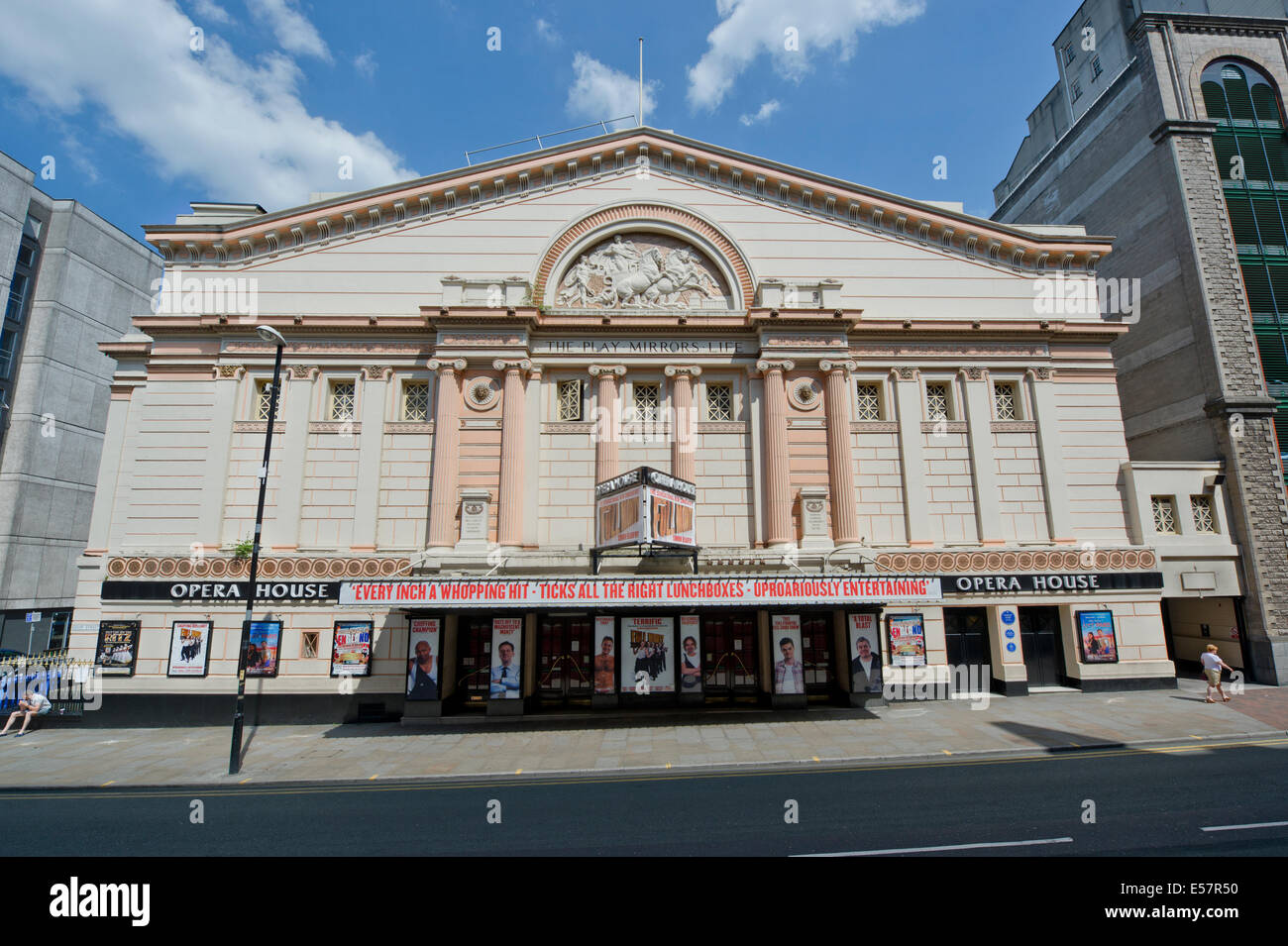 The Opera House theatre on Quay Street in Manchester, taken on a bright sunny day in summer. - Stock Image
