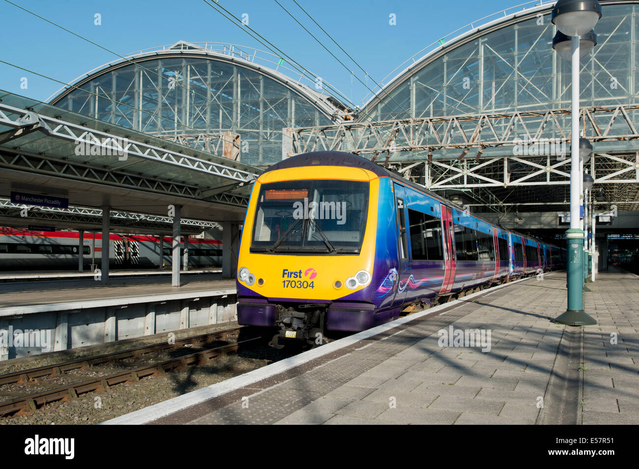 A First TransPennine ADtranz / Bombardier Express Class 170 Turbostar at the platform of Manchester Piccadilly Rail - Stock Image