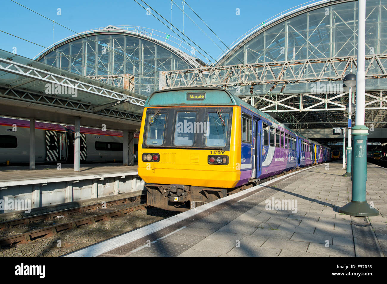 A Northern Rail Class 142 Pacer at the platform of Manchester Piccadilly Rail Station. - Stock Image