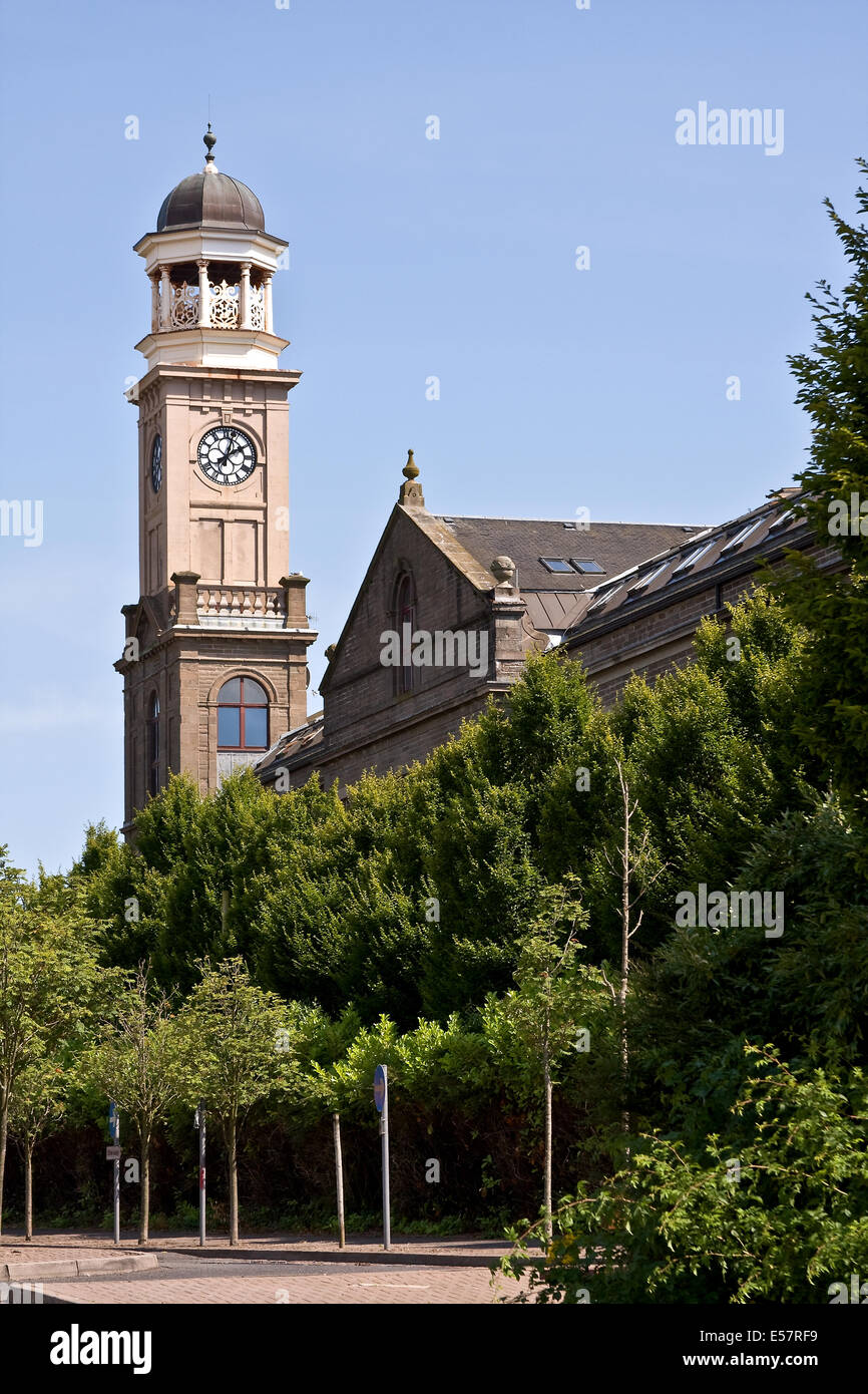 1800`s Cox`s Stack jute mill 'The Camperdown Works' is a Listed Building and now modern housing at Lochee - Stock Image
