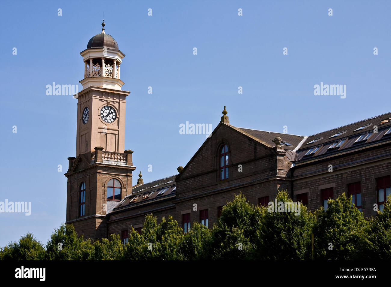 Cox`s Stack jute mill 'The Camperdown Works 1800`s' is a Listed Building and now modern housing at Lochee - Stock Image
