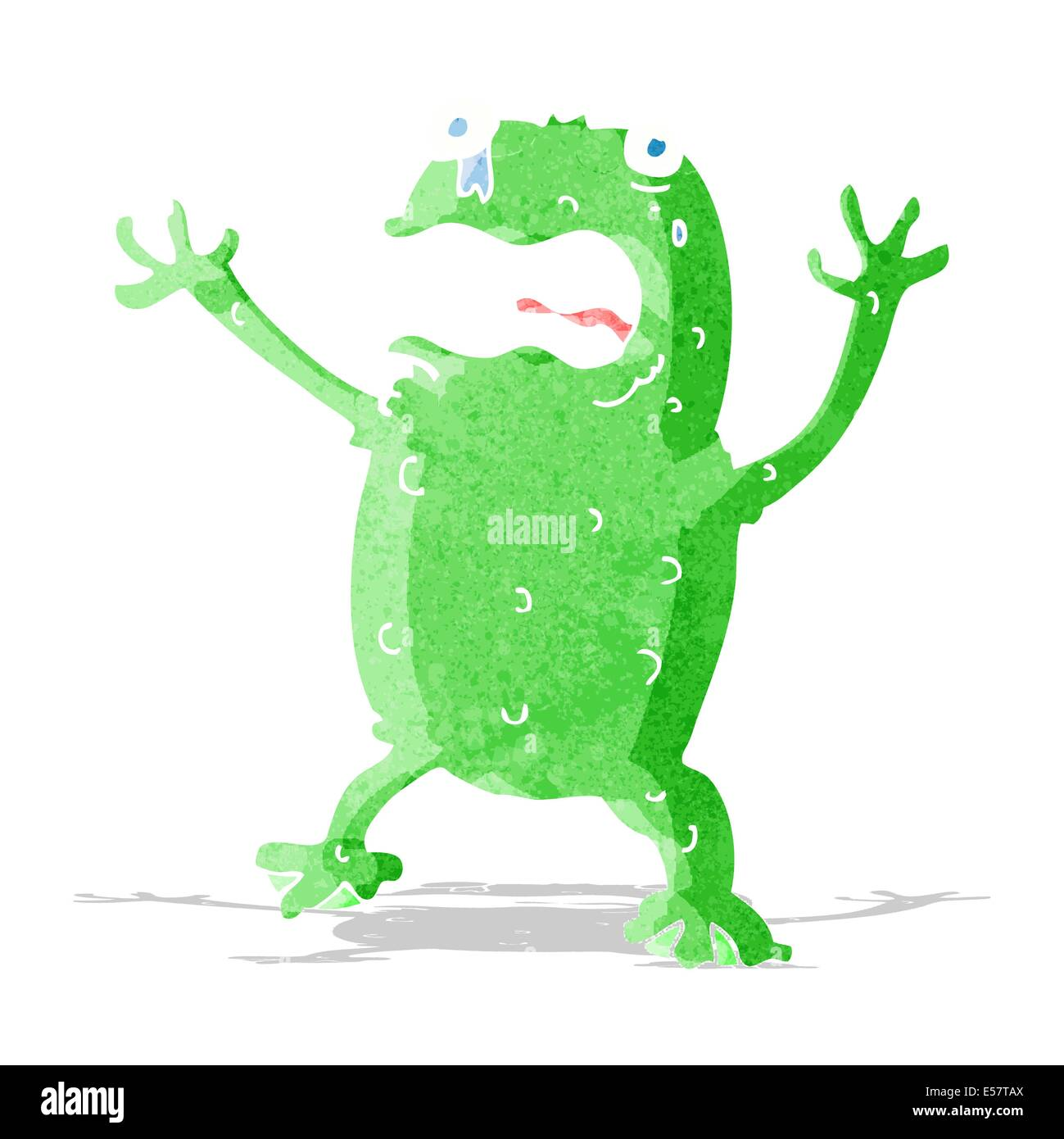cartoon frightened frog - Stock Image