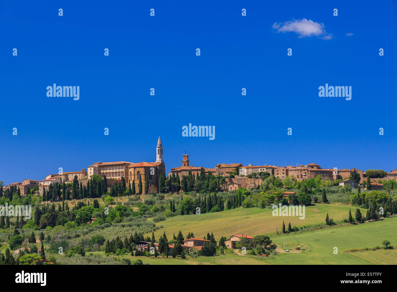 View on Pienza, a town and comune in the province of Siena, in the Val d'Orcia in Tuscany (central Italy), between - Stock Image