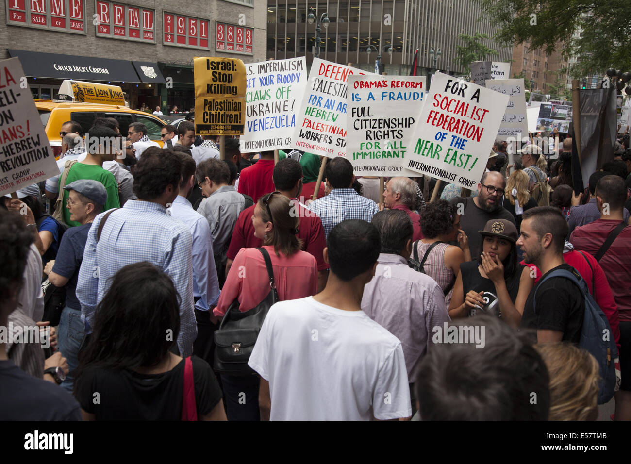 Large pro-Palestinian, anti-Israeli rally near the Israeli Consulate in New York City. Group then marched thru midtown - Stock Image