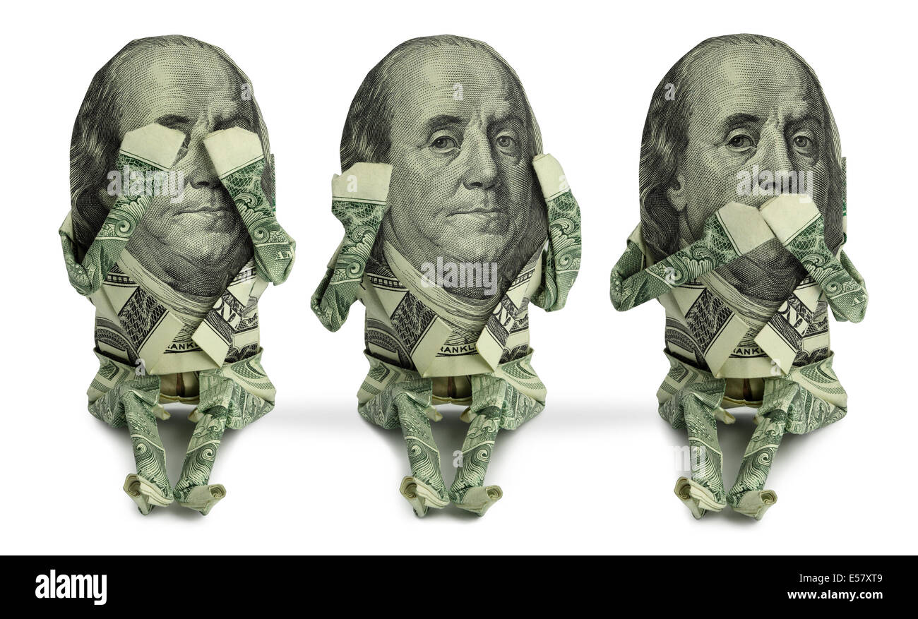 3 Seated Origami Human Figures Made From US Currency Are Posed In The Classic See No Evil Hear Speak Pose
