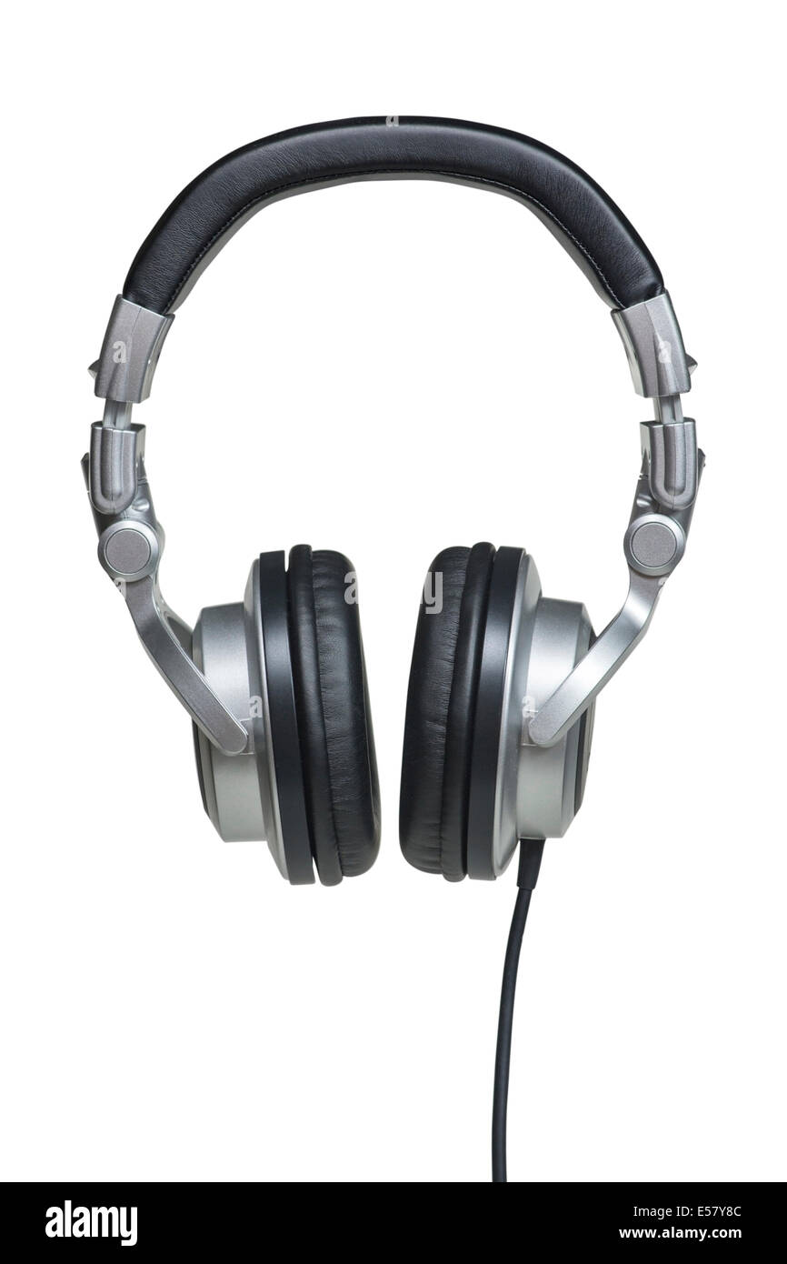 Professional black and silver stereo headphones isolated over white with clipping path - Stock Image