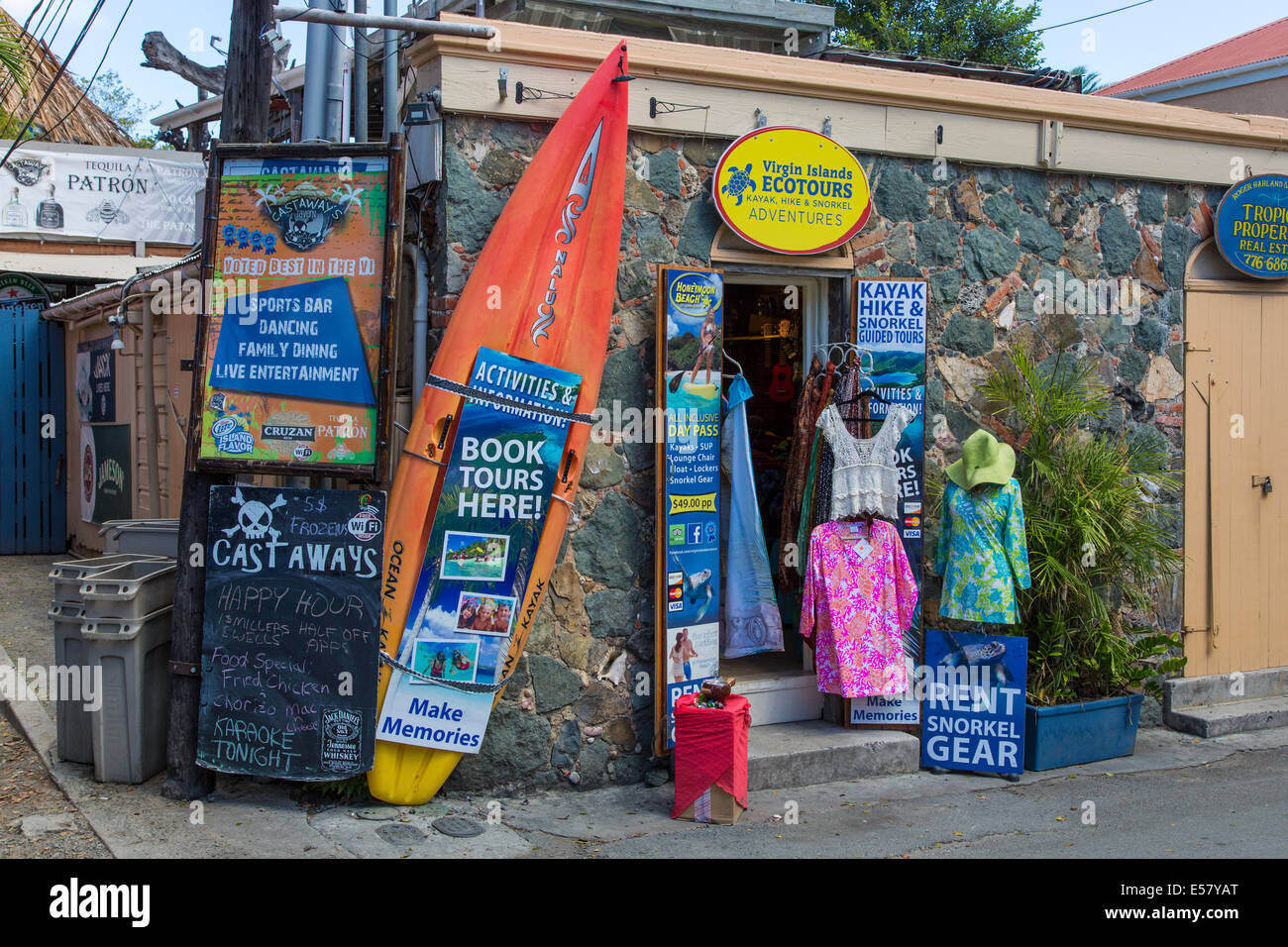 Shop in Cruz Bay on the Caribbean Island of St John in the US Virgin Islands - Stock Image
