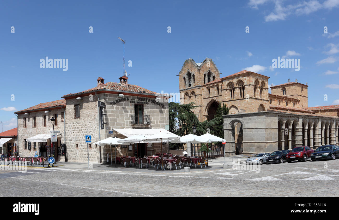 Sidewalk cafe in Avila, Castilla y Leon, Spain - Stock Image
