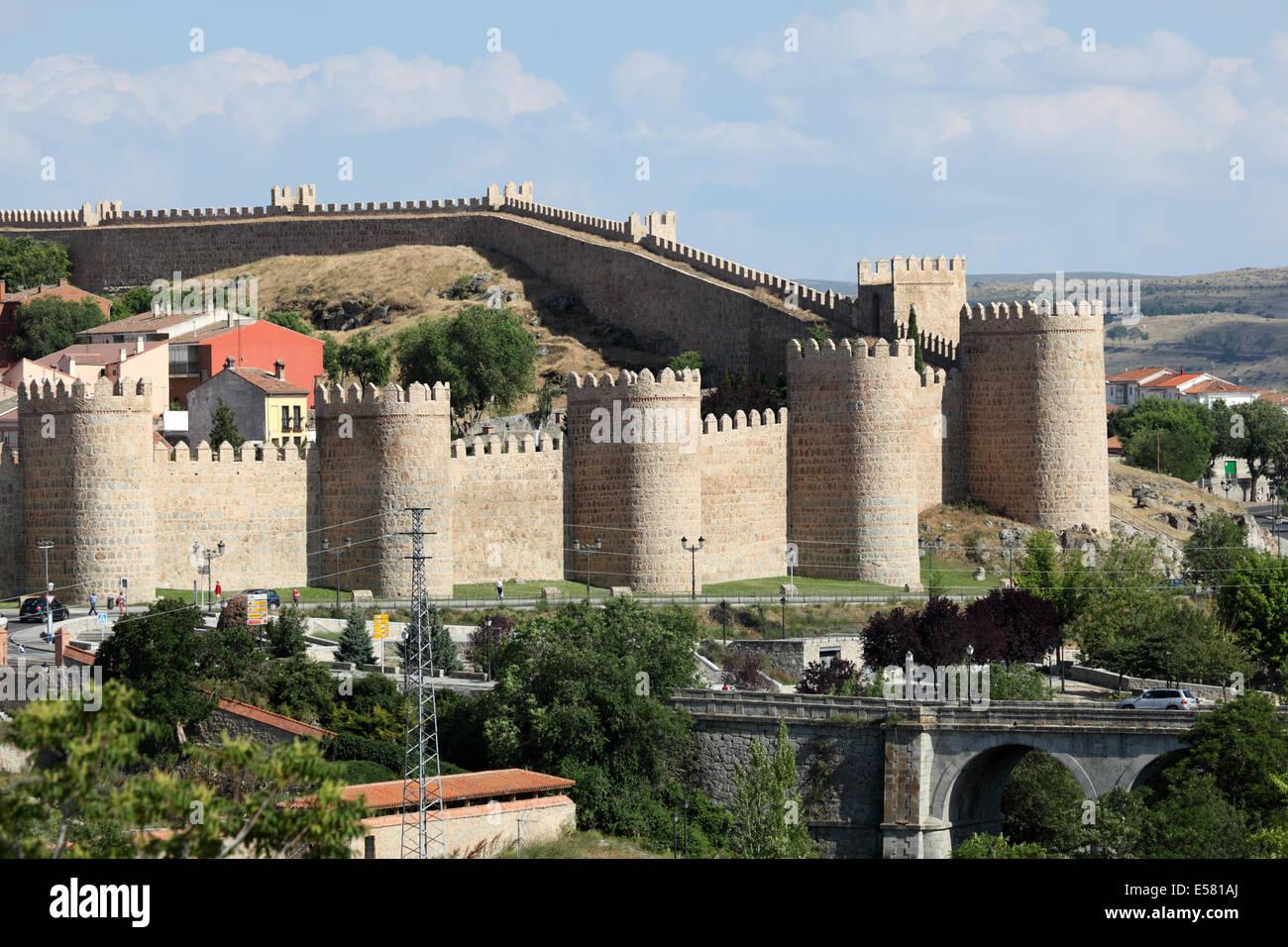 Medieval city walls of Avila, Castilla y Leon, Spain - Stock Image