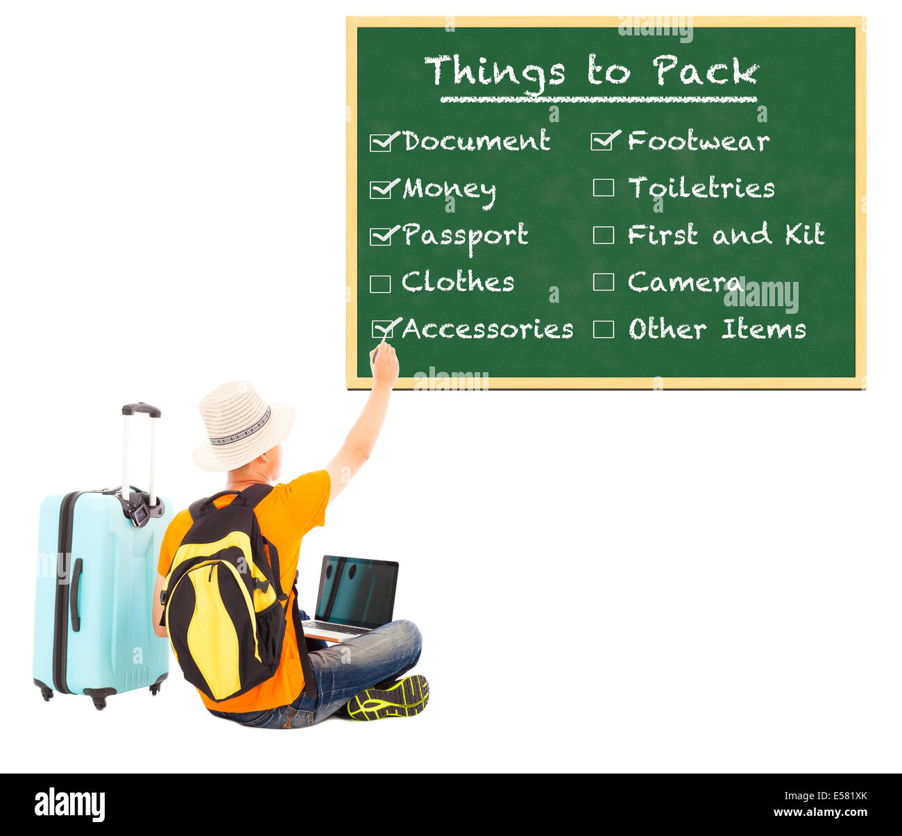 young backpacker check things to pack on blackboard - Stock Image
