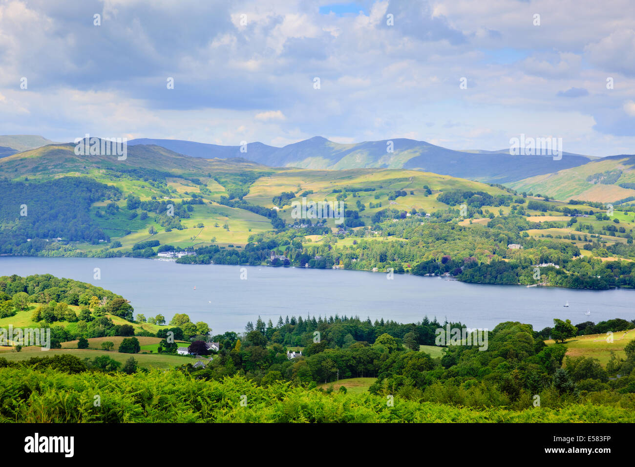 Windermere Lake District National Park England uk on a beautiful summer day popular tourist attraction - Stock Image