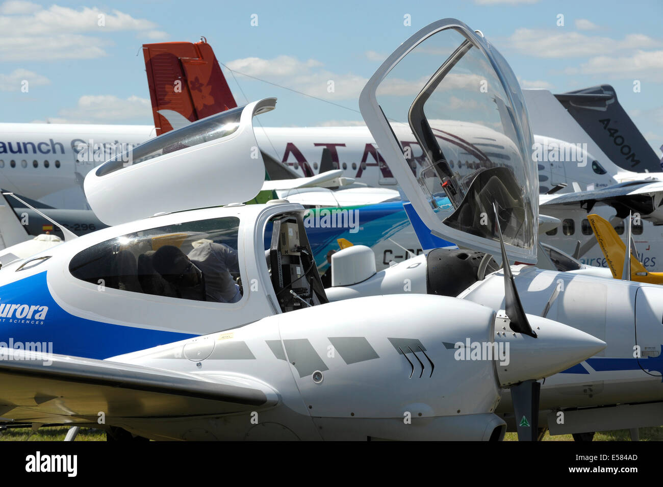 Aircraft park at Farnborough Air Show - Stock Image