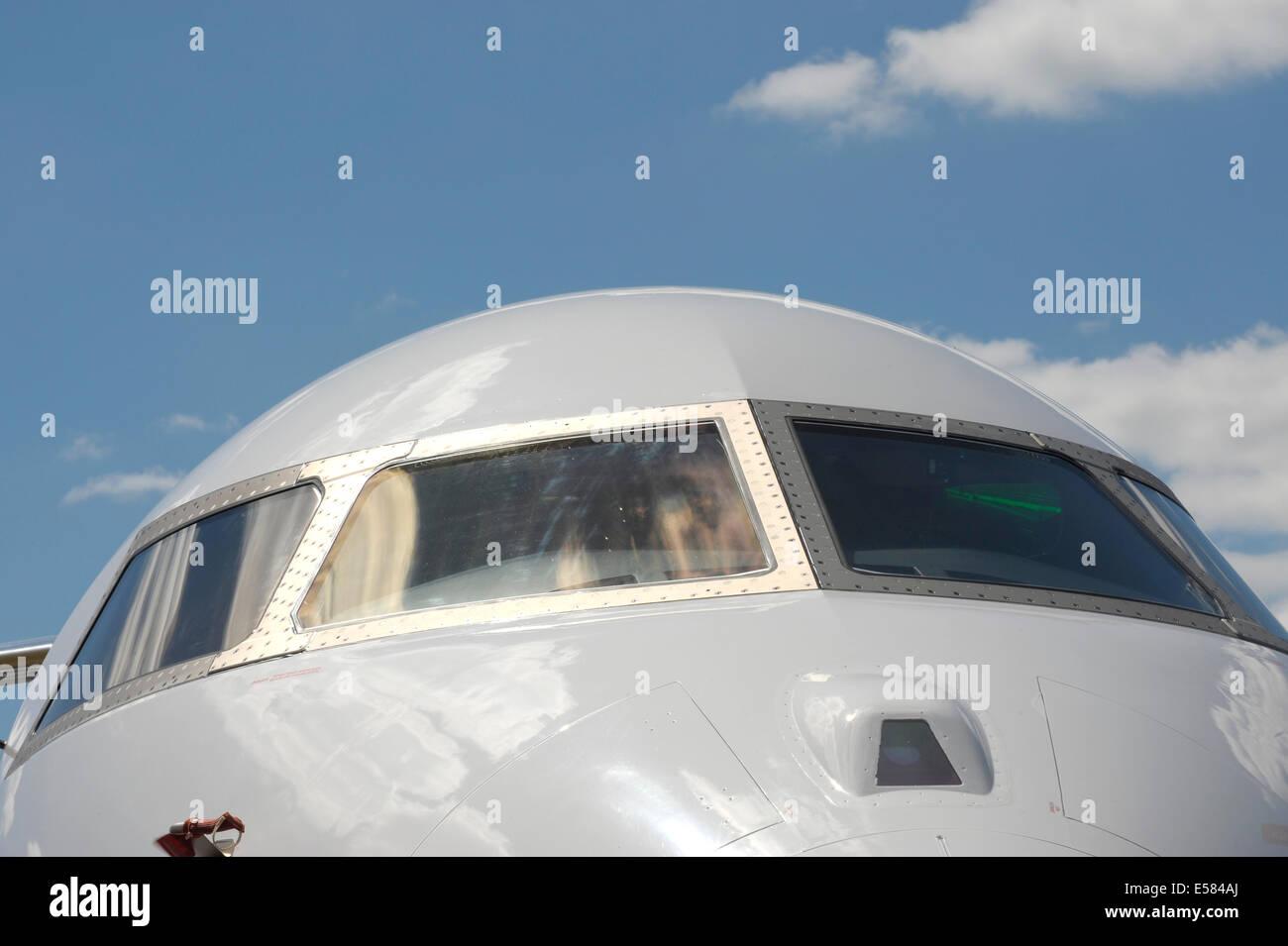 Bombardier Global 6000 Aircraft cockpit windows - Stock Image