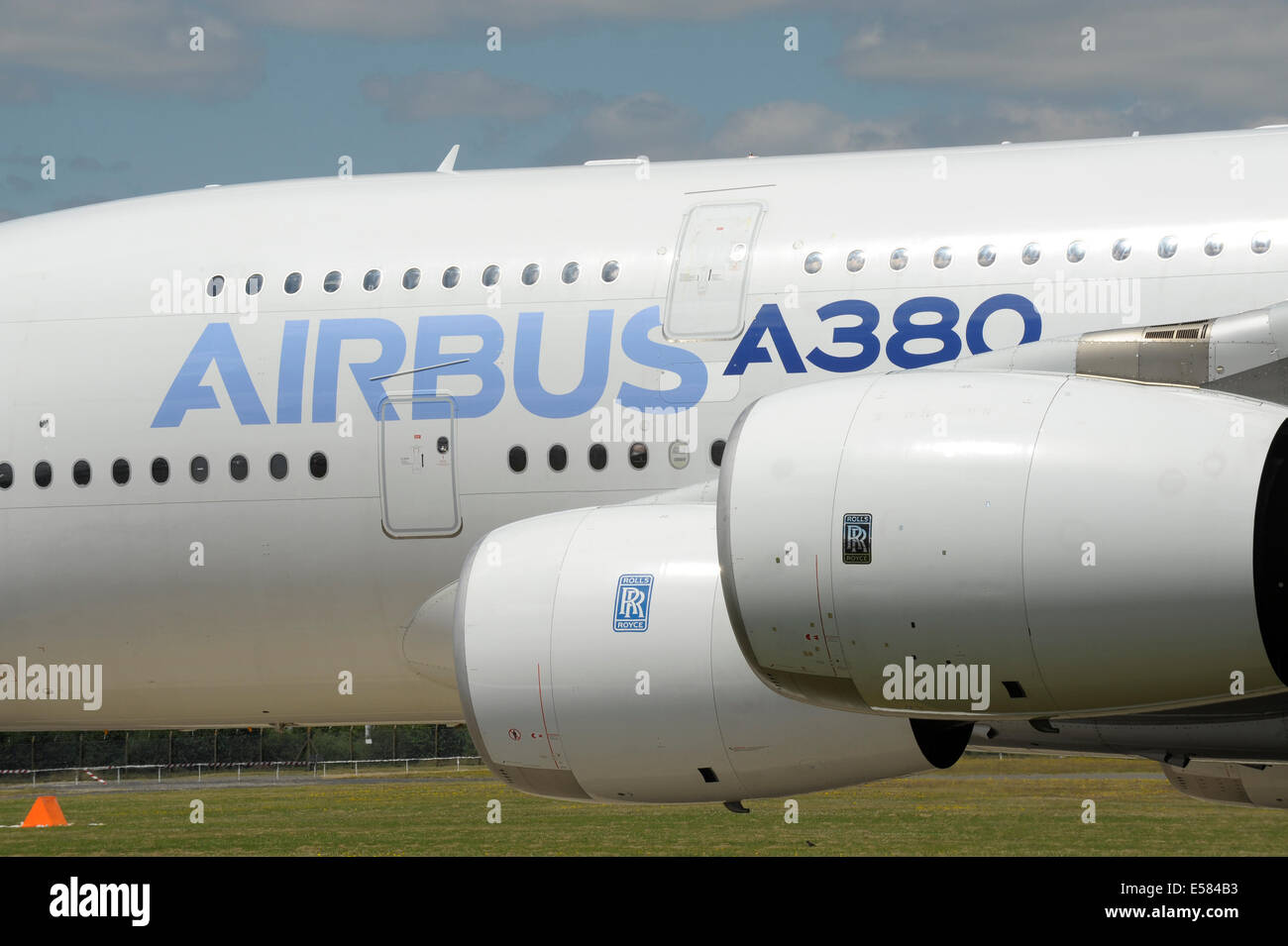 Airbus A380 engines and fuselage detail - Stock Image