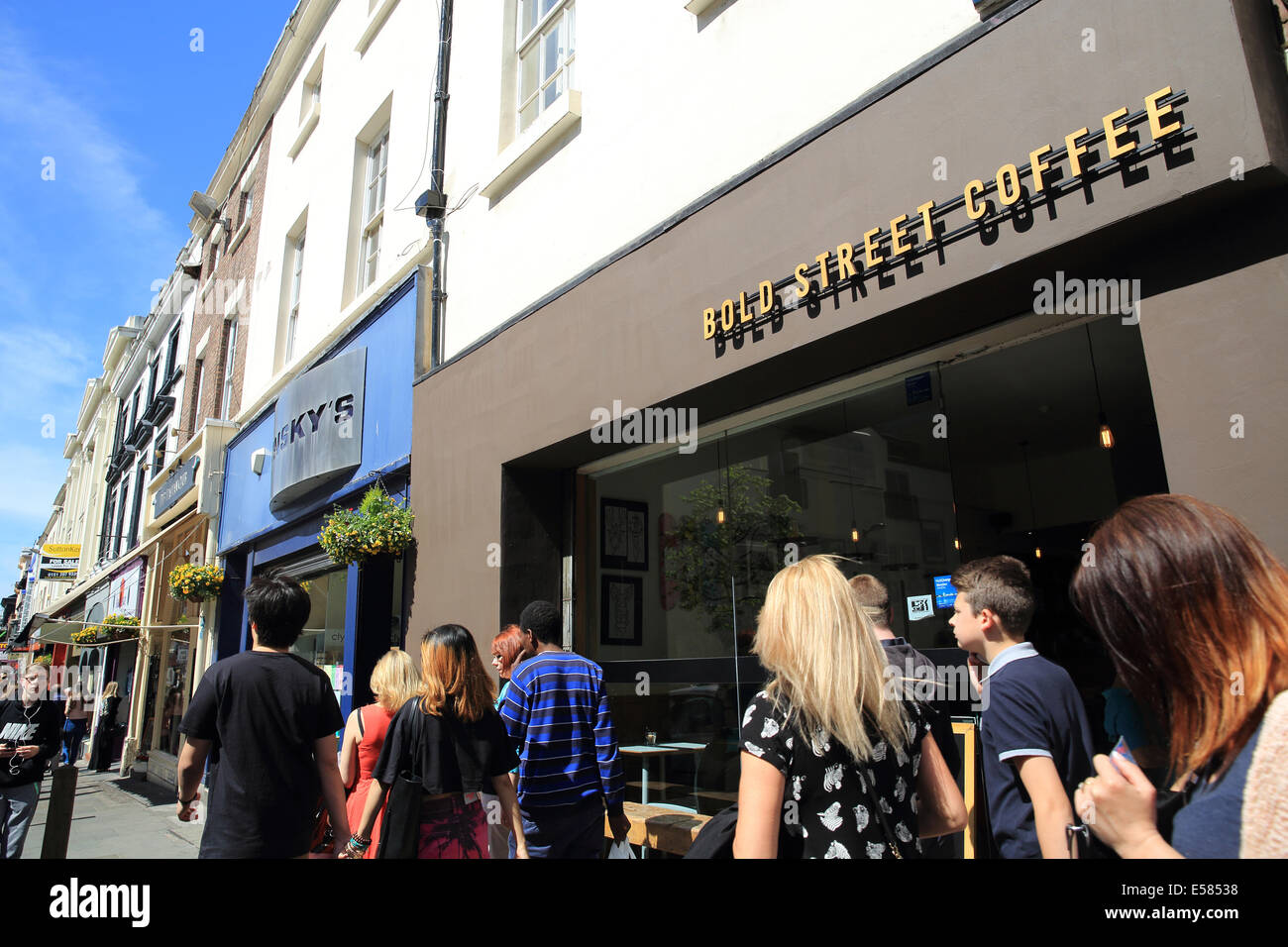 Bold Street Coffee Shop, a popular, independent specialist cafe, in Liverpool, Merseyside, NW England, UK - Stock Image