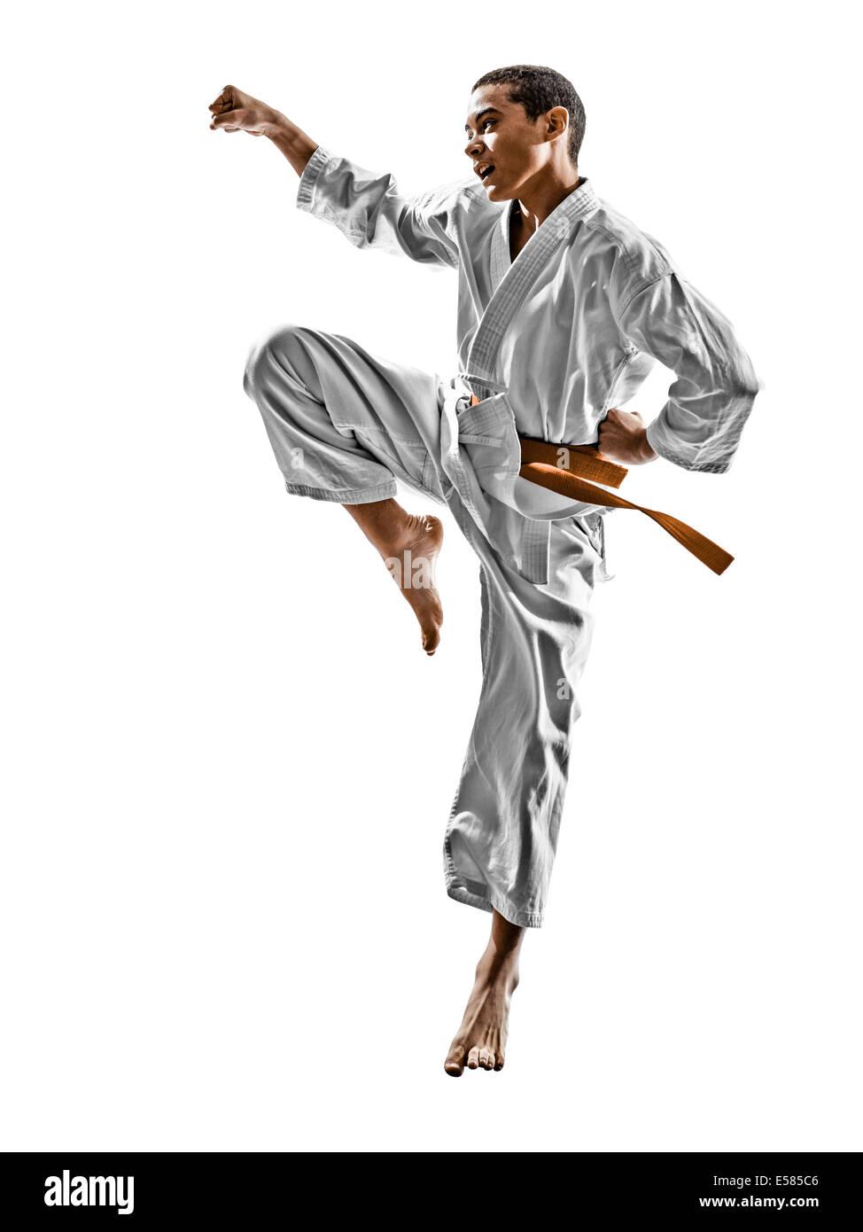 one karate kata training teenagers kid isolated on white background - Stock Image