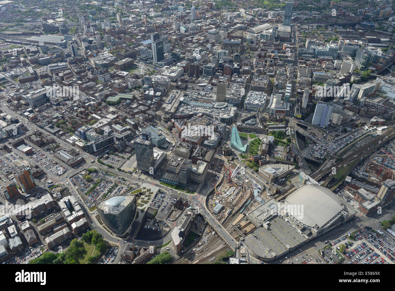 An aerial view of Manchester City Centre - Stock Image