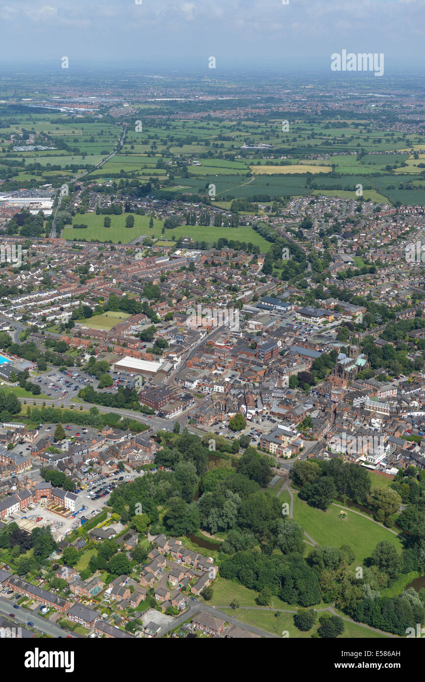 An aerial image showing the town of Nantwich and the Cheshire countryside. - Stock Image