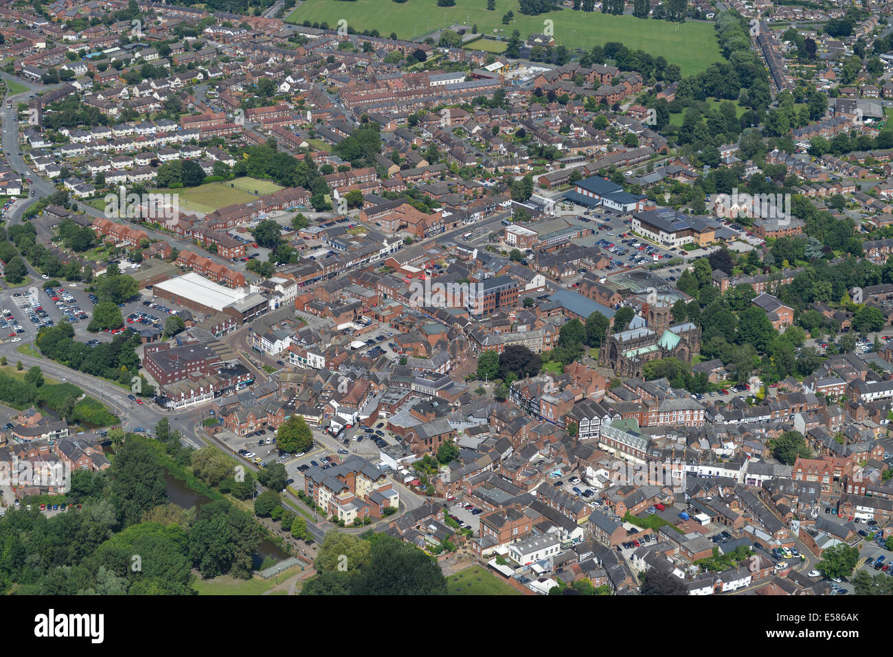 An aerial image showing the town centre of Nantwich in Cheshire, UK - Stock Image