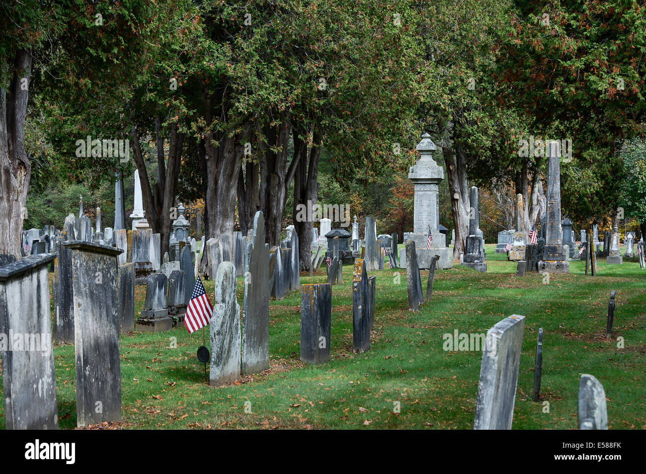 Cemetery memorials, Chester, Vermont, USA - Stock Image