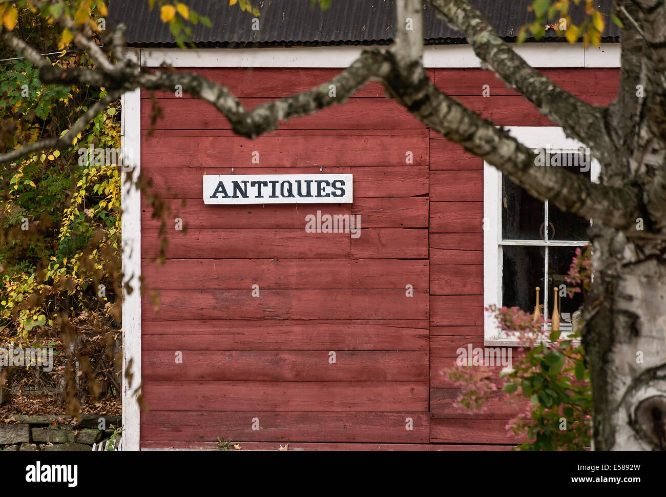 Antique shop, Jamaica, Vermont, USA - Stock Image